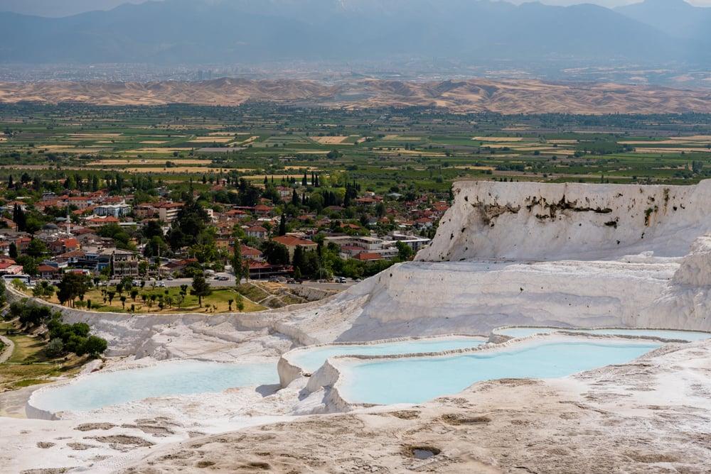 Natural travertine pools and beautiful scenery in Pamukkale, Turkey