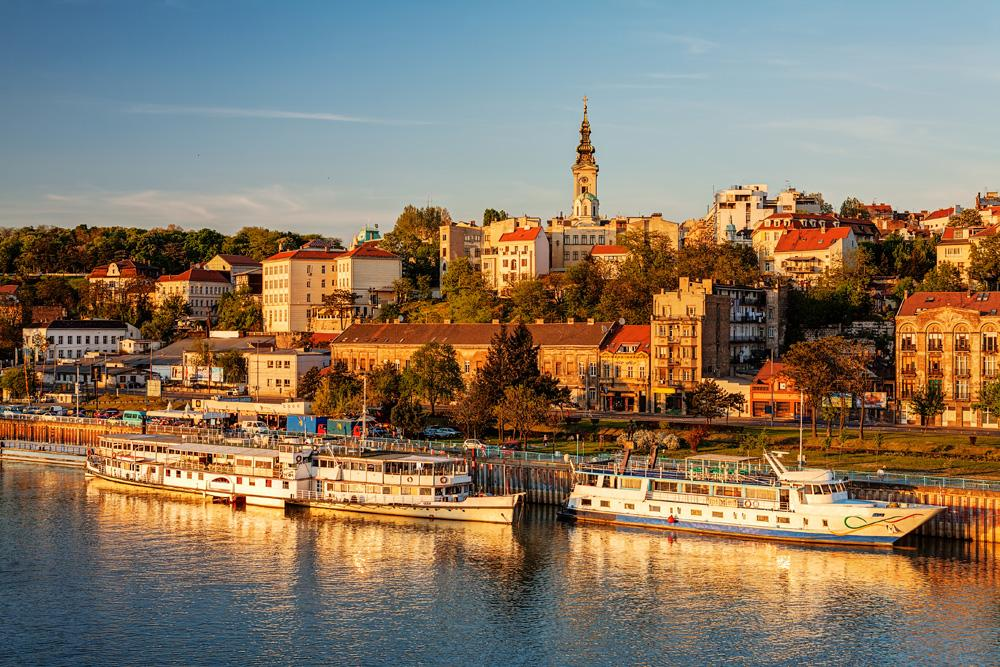 Panorama of Belgrade with Sava River on a sunny day, Serbia