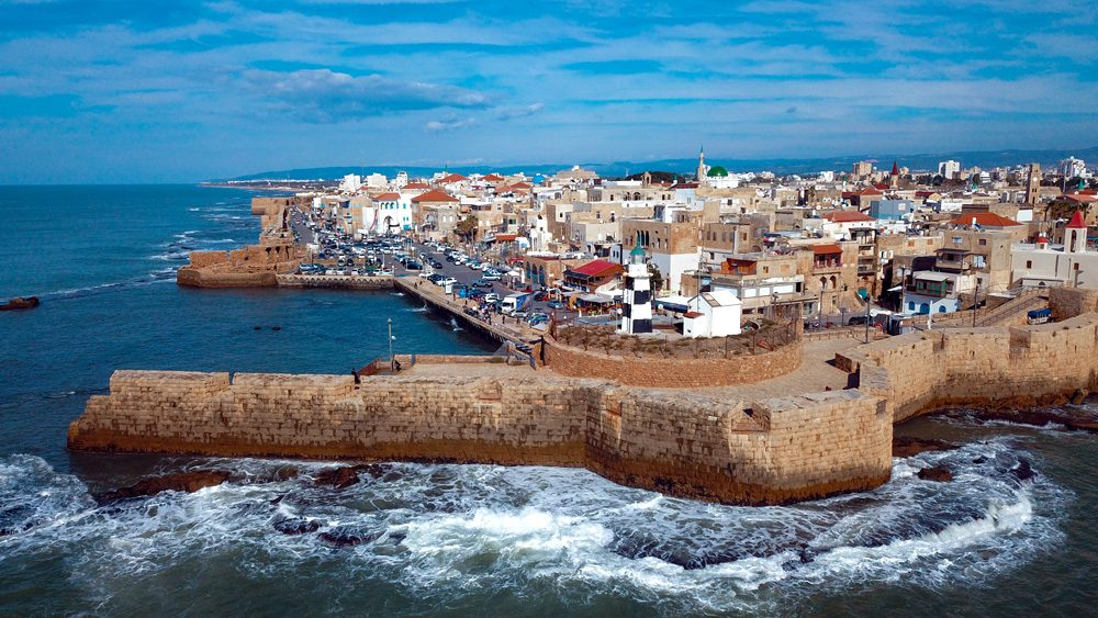 Panoramic view of the harbour in the Old City, Akko, Israel
