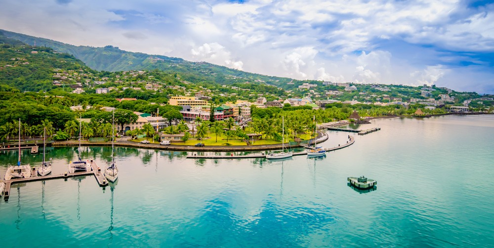 Papeete harbour landscape, Tahiti, Islands of Tahiti (French Polynesia)