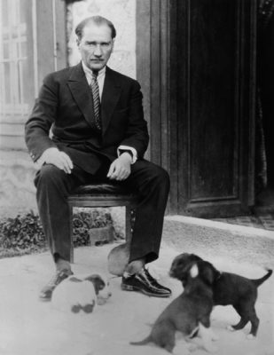 Photo of Mustafa Kemal Ataturk with his pet dogs, ca 1930, Turkey