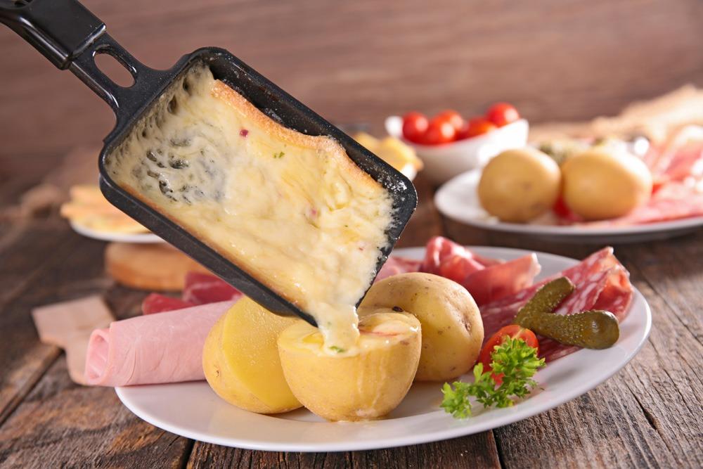 Raclette cheese on potato, Switzerland