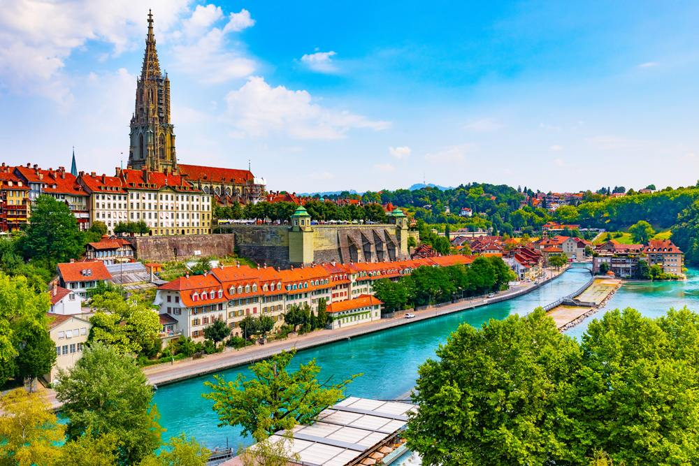 Scenic summer view of the Old Town architecture of Bern and Aare River embankment, Switzerland