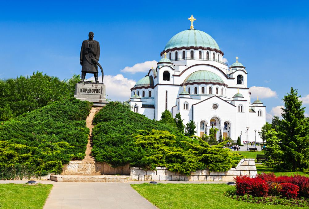 St. Sava Cathedral and statue of Karadjordje, Belgrade, Serbia