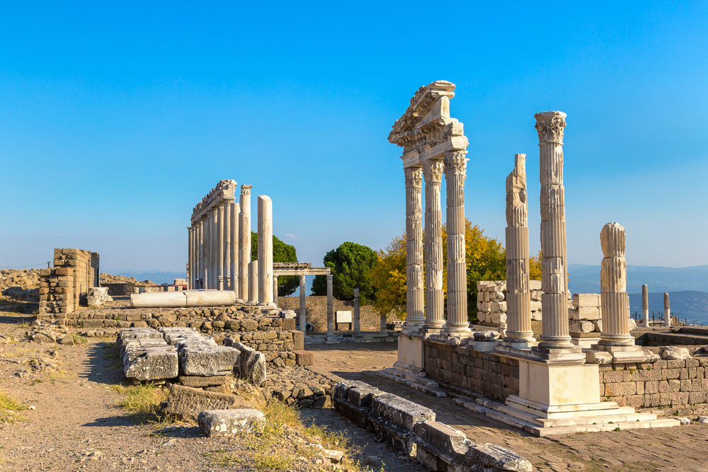 Temple of Trajan in the ancient city of Pergamon, Turkey
