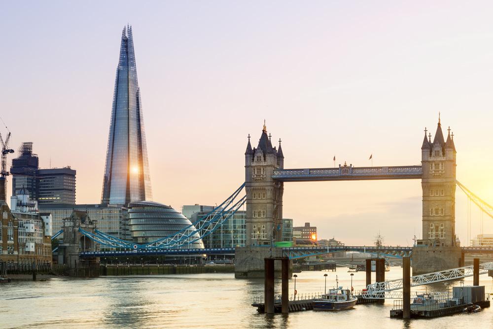 The Shard and Tower Bridge at sunset, London, England, UK (United Kingdom)
