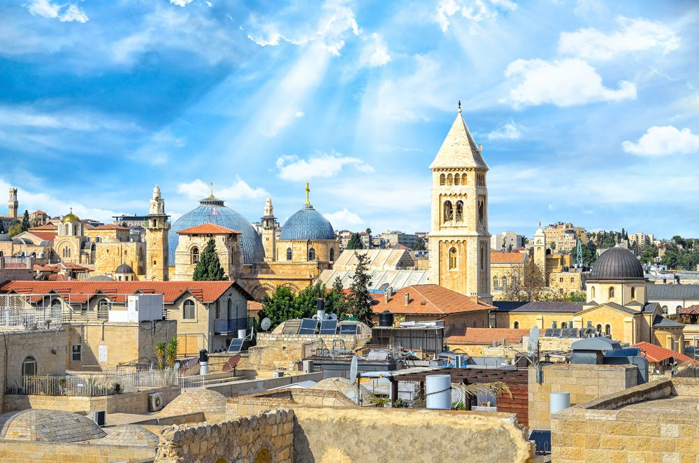 View of Jerusalem old city, Christian Quarter, and the Church of the Holy Sepulchre, Israel
