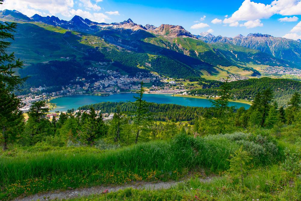 View of St. Moritz from a mountain trail in summer, Switzerland
