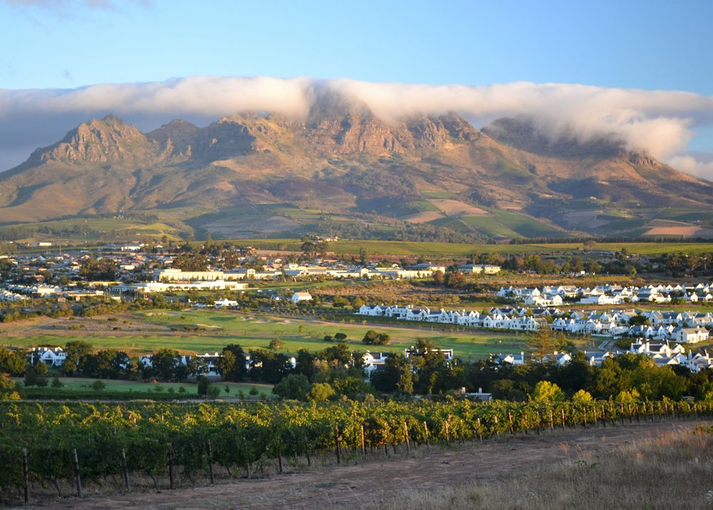 View of mountains and vineyards surrounding Stellenbosch, South Africa