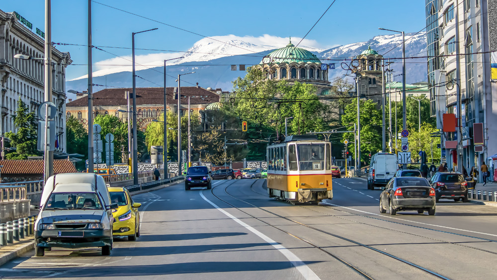 Vitosha Boulevard with Sveta Nedelya Cathedral and Vitosha Mountain in background, Sofia, Bulgaria