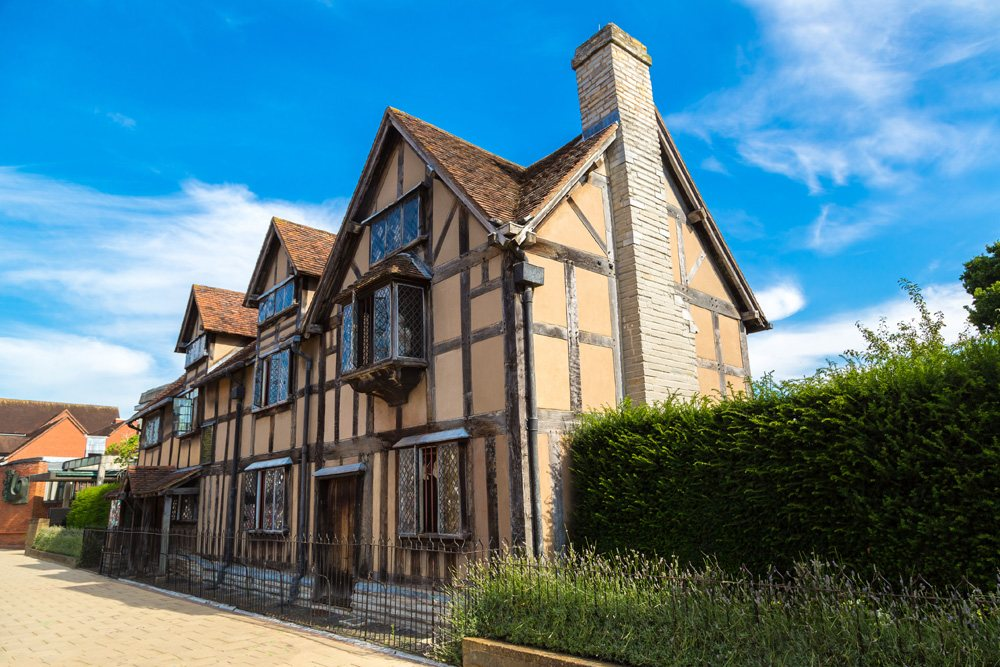 William Shakespeare's Birthplace on Henley street in Stratford-upon-Avon, England, UK