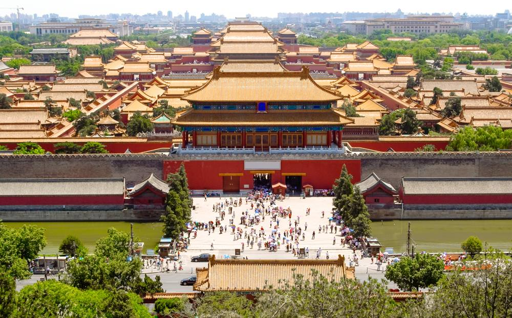 Aerial view of Forbidden City in Beijing, China