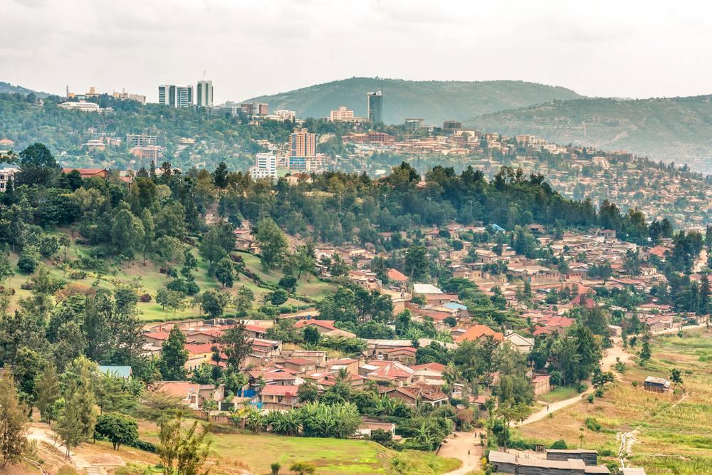 Aerial view of Kigali, the capita city of Rwanda