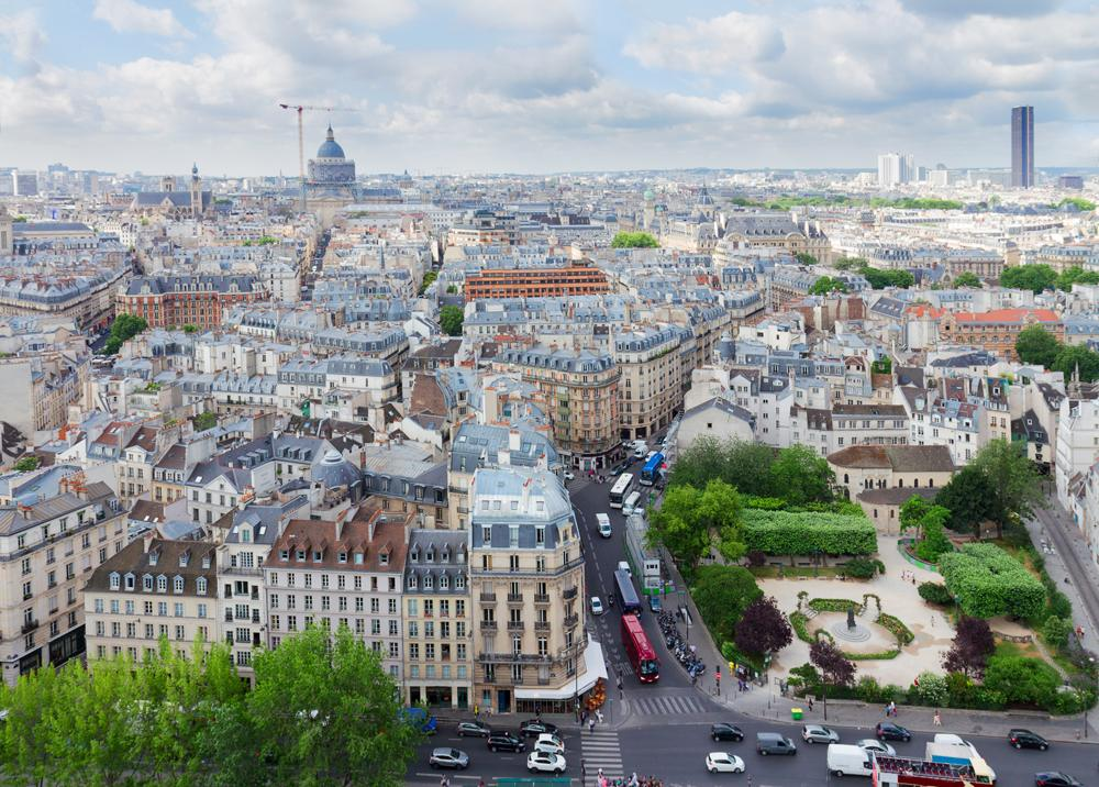 Aerial view of Latin Quarter in Paris, France
