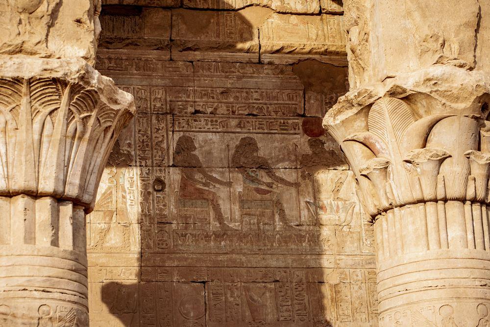 Colour hieroglyphics at the Temple of Horus, Edfu, Egypt