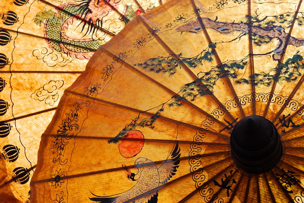 Detail of umbrella with Thai ornament, Asia