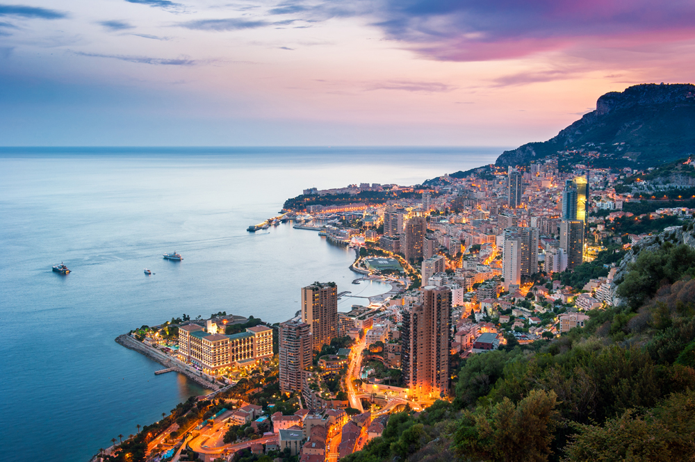 Evening view of Monte Carlo, Monaco