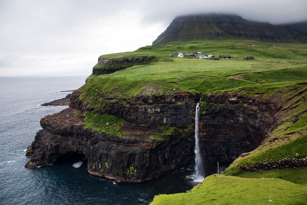 Gasadalur waterfall in Vagar Island, Faroe Islands