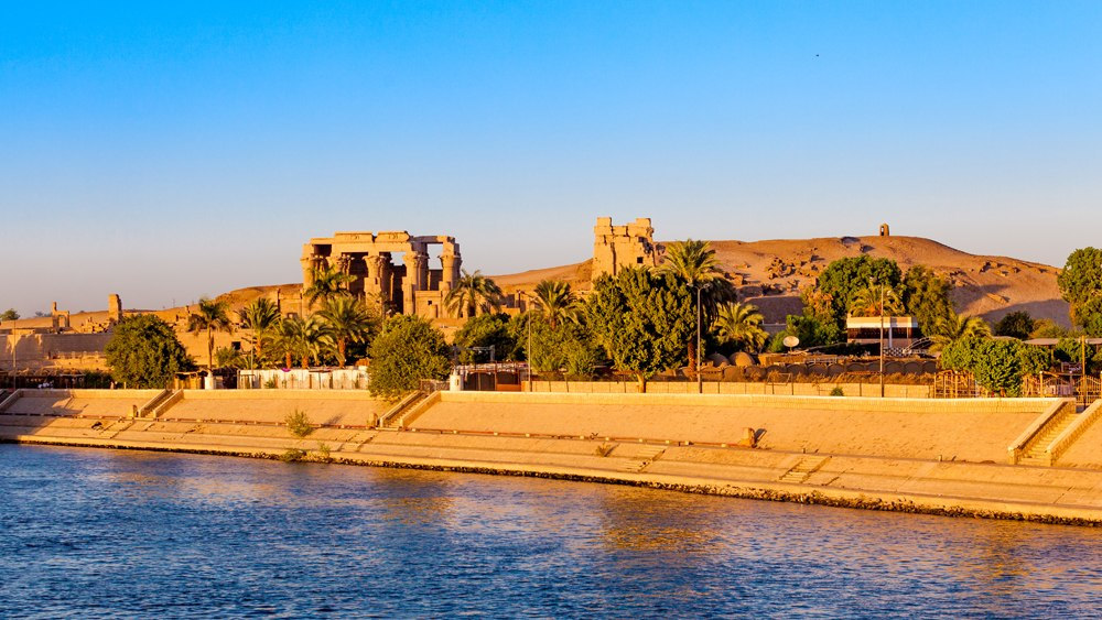 Kom Ombo Temple along the Nile at sunset, Egypt