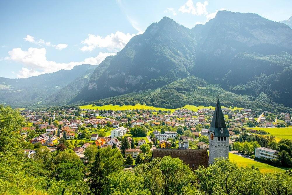 Landscape view of Balzers Village with Saint Nicholas church, Liechtenstein