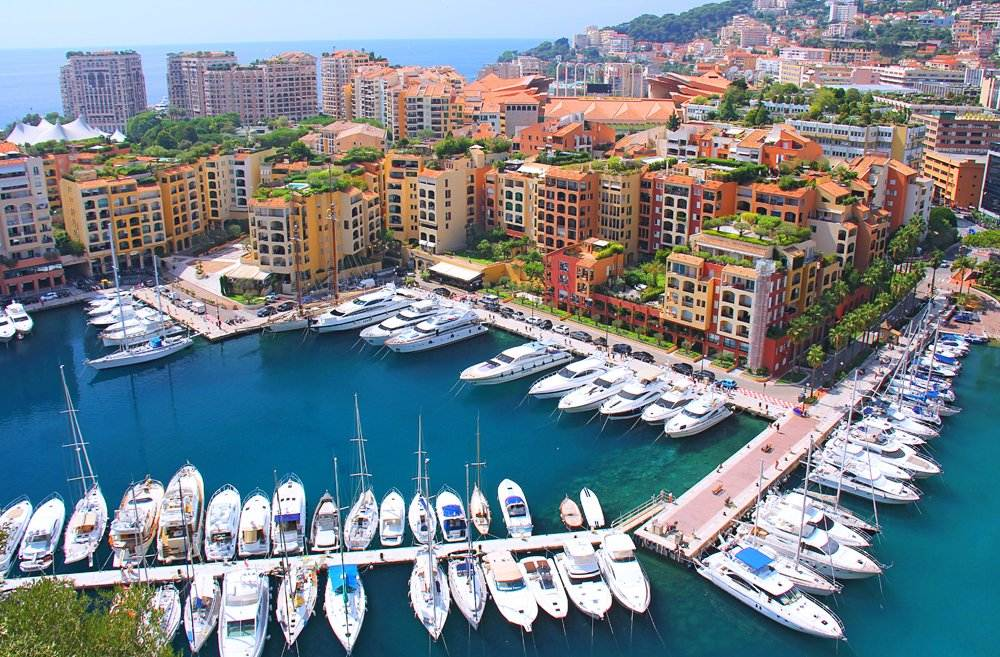 Panoramic view of Fontvieille and boats, Monaco