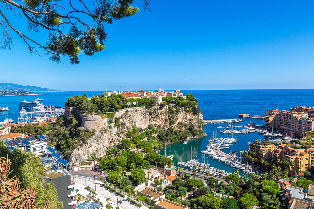 Panoramic view of Prince's Palace in Monte Carlo on a summer day, Monaco