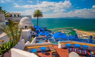 Sidi Bou Said overlooking the Mediterranean, near Tunis, Tunisia