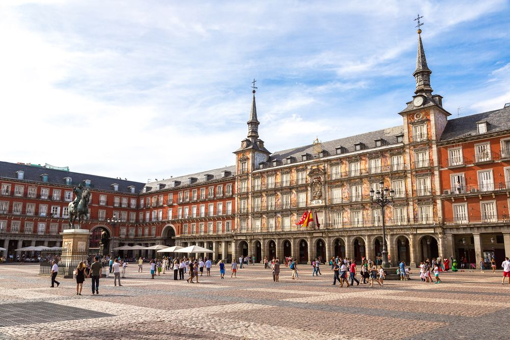 Statue of Philip III at Plaza Mayor in Madrid, Spain