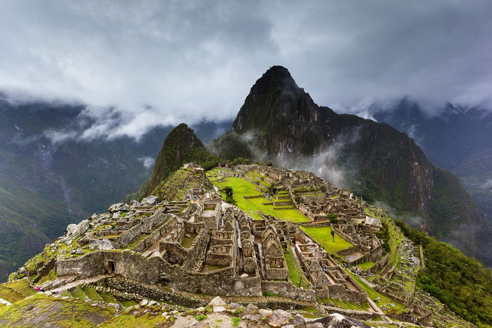 View of Machu Picchu during the wet season, Peru