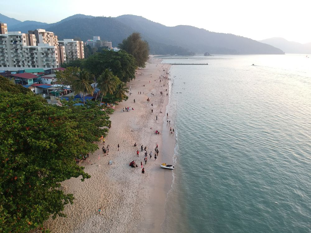 Aerial view of Batu Ferringhi Beach in Penang, Malaysia