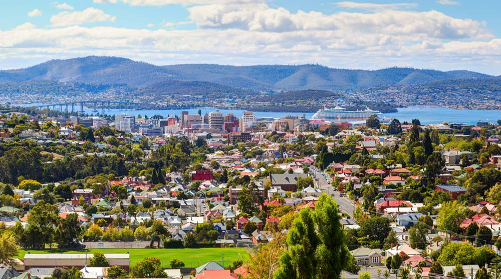 Aerial view of Hobart City, Tasmania, Australia