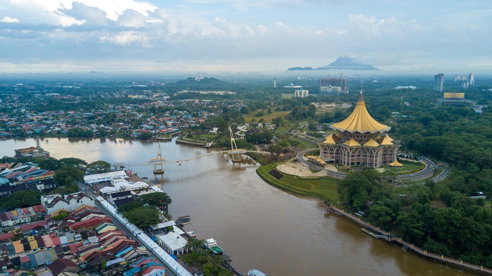 Aerial view of the New Sarawak State Legislative Assembly Building in Kuching, Malaysia