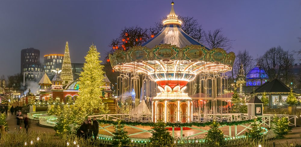 Carousel and Christmas illumination in Tivoli Gardens, Copenhagen, Denmark