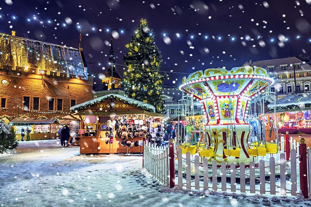 Christmas market and fair in Town Hall Square, Tallinn, Estonia