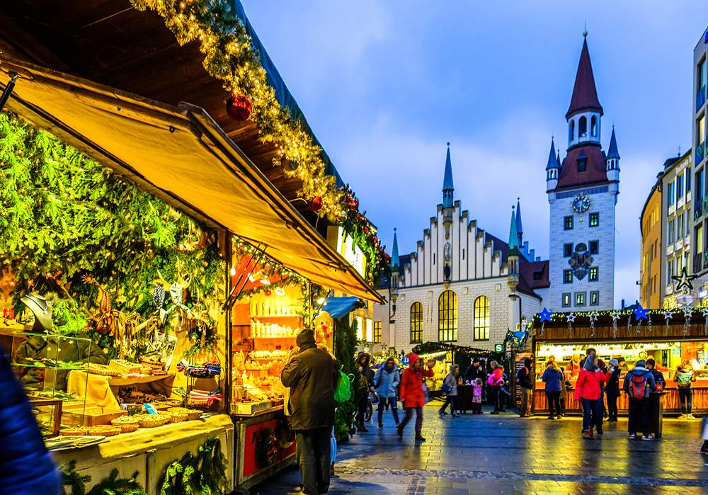 Famous Christmas market in Munich, Germany