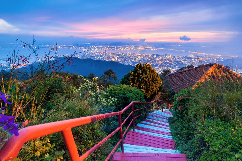 George Town City view from Penang Hill at dawn, Malaysia