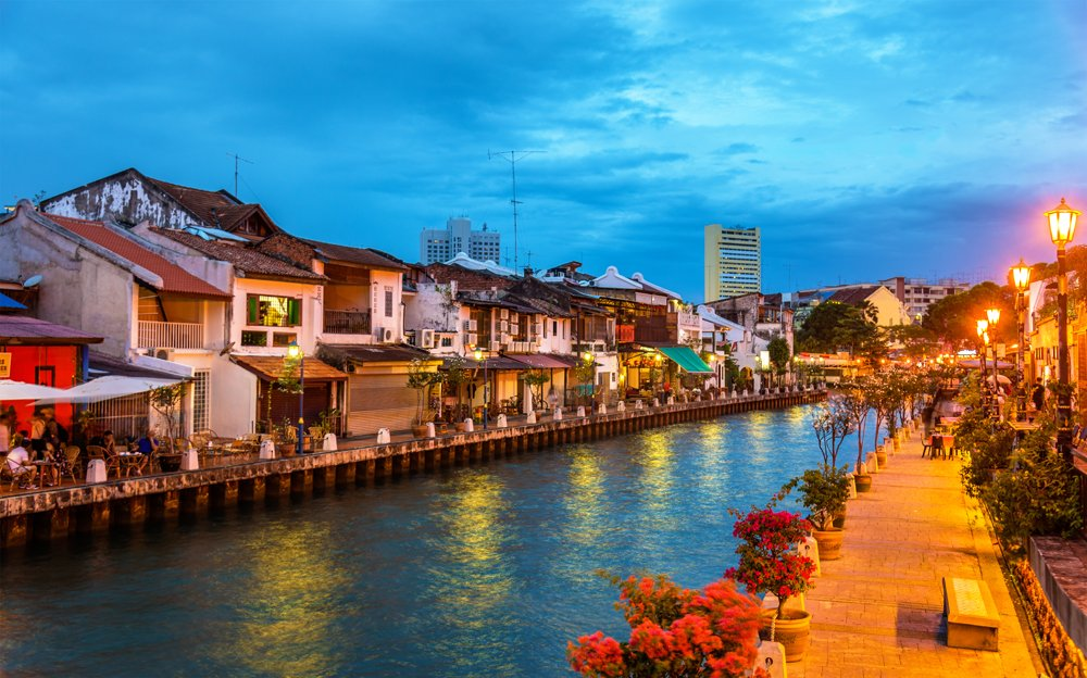 Old town of Malacca and the Malacca river, Malaysia