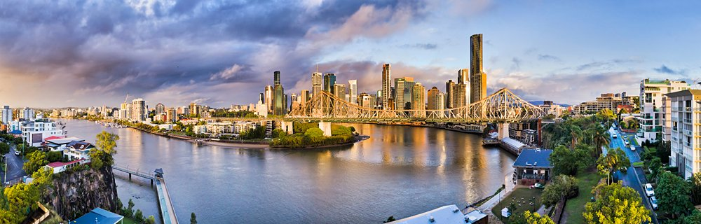 Panoramic view of Brisbane river flowing through Brisbane and under Story Bridge, Queensland, Australia