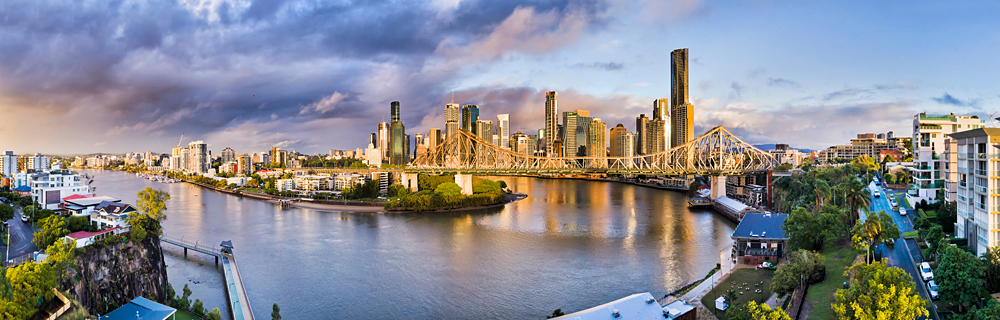 Panoramic view of Brisbane river flowing through Brisbane and under Story Bridge, Queensland, Australia