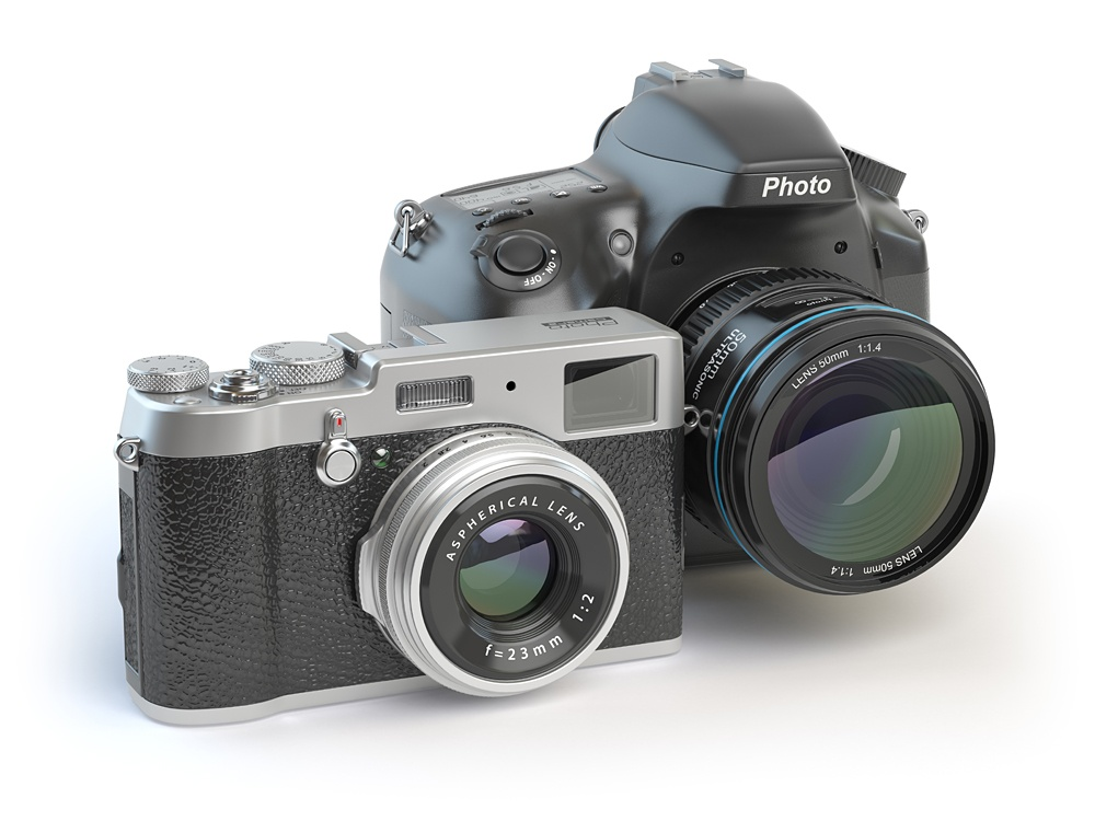 Retro-stylized mirrorless and DSLR cameras isolated