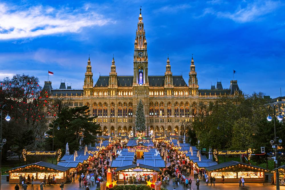 Traditional Christmas market in front of City Hall (Rauthaus), Vienna, Austria