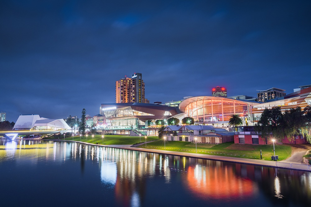 View of Adelaide waterfront at night, South Australia, Australia
