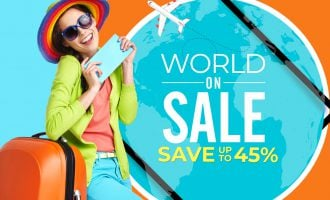 Woman tourist with travel suitcase and blue boarding pass wWorld on Sale Seal