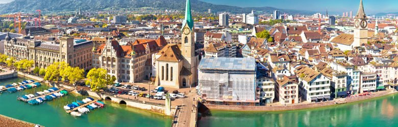 Aerial and panoramic view of Zurich and Limmat River waterfront, Switzerland