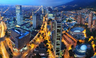 Aerial view of Bogota at night, Colombia