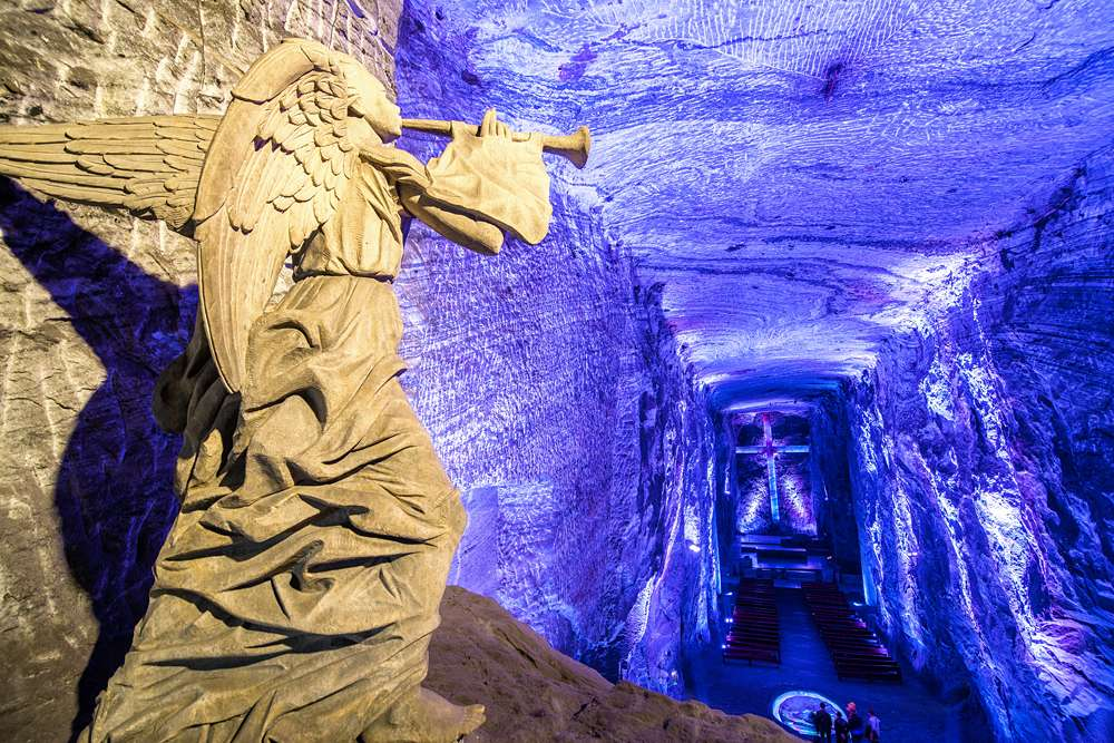Angel inside the underground salt cathedral in Zipaquira, Colombia
