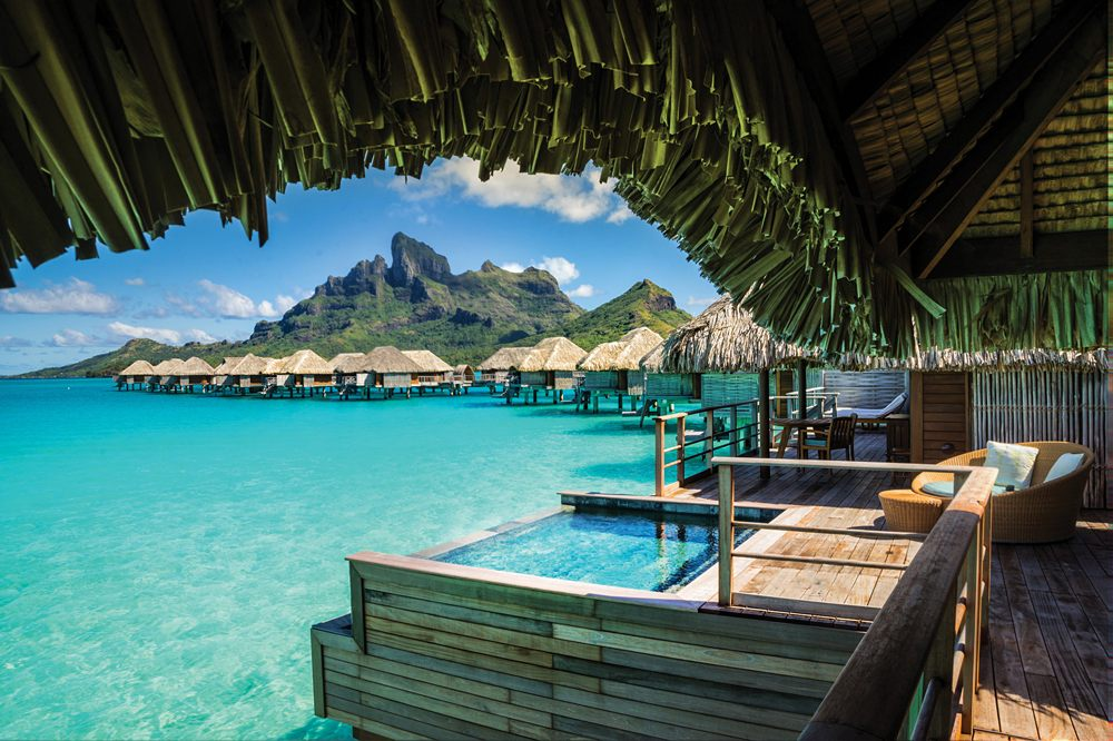 Balcony of overwater bungalow at Four Seasons Bora Bora, Tahiti (French Polynesia)