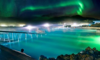 Blue Lagoon at night with Northern Lights, Iceland