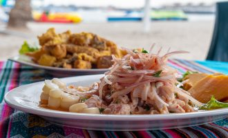 Ceviche is the most popular seafood Peruvian dish from Lima, Peru