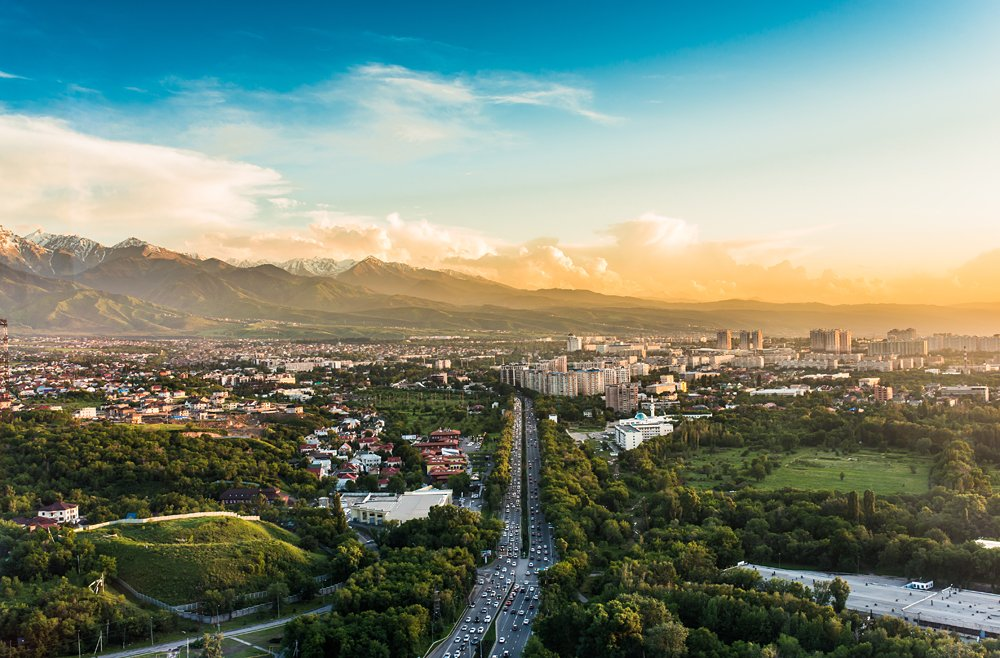 City of Almaty at sunset, Kazakhstan